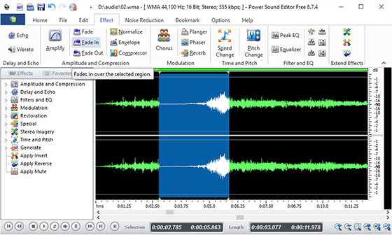 Edit the Sound File and Add Audio Effects